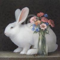 White Rabbit and Zinnias by Koo Schadler